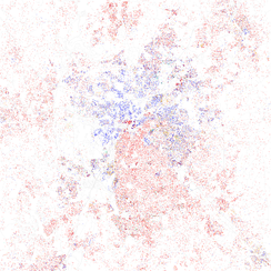 Map of racial distribution in Charlotte, 2010 U.S. Census. Each dot is 25 people: White, Black, Asian Hispanic, or Other