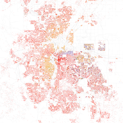 Map of racial distribution in Denver, 2010 U.S. Census. Each dot is 25 people: White, Black, Asian, Hispanic, or Other (yellow)