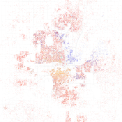 Map of racial distribution in Oklahoma City, 2010 U.S. Census. Each dot is 25 people: White, Black, Asian, Hispanic or Other (yellow)