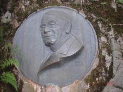 "Reverend Walter Weston called ""Father of the Japanese Alps"" memorial plaque at Kamikōchi in the Japanese Alps"