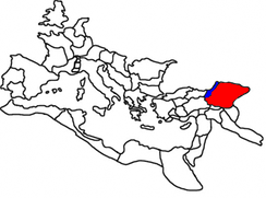 Greater Armenia as part of the Roman Empire (in red), Lesser Armenia (in blue); 117 AD