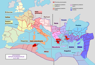 Later dioceses of the Roman Empire, around 400 AD