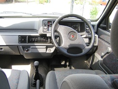 The interior of a 1994 Rover Metro Rio.