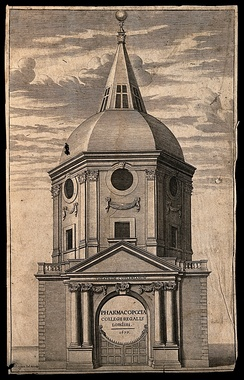 The Cutlerian Theatre in Warwick Lane, an anatomy theatre designed by Robert Hooke rebuilt after the Fire (demolished 1866).[5] The frontispiece to the Royal College's pharmacopeia, 1677. Engraving by David Loggan