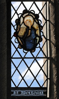The stained glass image in Kingskerswell church