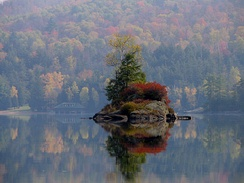 A small island in Lower Saranac Lake in the Adirondacks, New York state, U.S.