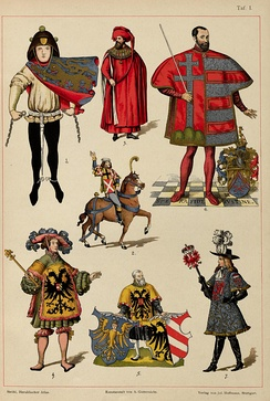 Pictures of heralds from the 14th-17th Century, from H. Ströhl's Heraldischer Atlas.