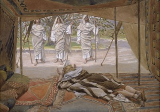 Abraham and the Three Angels (watercolor c. 1896–1902 by James Tissot)