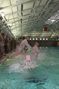 Recruits during Combat Water Survival.