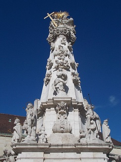 The Holy Trinity column in the Holy Trinity Square, Buda Castle Hill