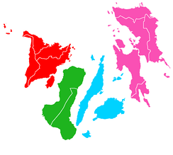 A map of the Visayas colour-coded according to the constituent regions.   Central Visayas   Eastern Visayas   Western Visayas The major islands, from west to east, are Panay, Negros, Cebu, Bohol, Leyte, and Samar.