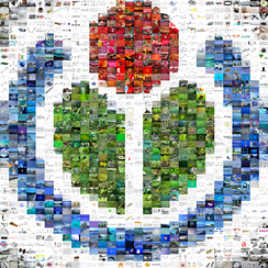 Wikimedia logo mosaic created to commemorate the one-millionth file at Wikimedia Commons