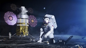 An artist's rendition of an Artemis astronaut wearing the xEMU spacesuit and xPLS life support backpack during an EVA on the Moon.