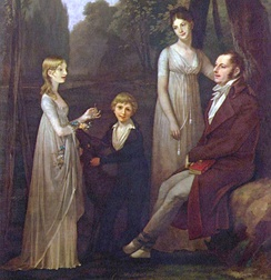 In the early 1800s, women wore thin gauzy outer dresses while men adopted trousers and overcoats. Rutger Jan Schimmelpenninck and his family, 1801–02, by Pierre-Paul Prud'hon