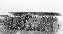 147th Aero Squadron group photo with a SPAD XIII. Likely taken at Rembercourt Aerodrome, France, November 1917. (Kneeling second from right is LT Josiah P. Rowe Jr. of Fredericksburg, Virginia - author of Letters from A World War I Aviator and owner/editor of The Free Lance–Star)