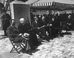 Mayor Tobin (seated, fifth from left) at the dedication of the John Harvard Mall on May 2, 1943