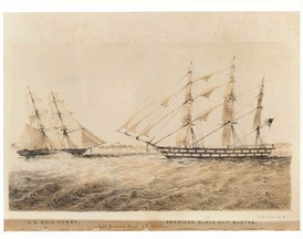 U.S. brig Perry confronting the slave ship Martha off Ambriz on June 6, 1850