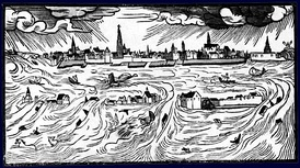 Drawing by Hans Moser in 1570 of Scheldt flood