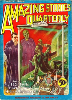 The first issue of Amazing Stories Quarterly, dated Winter 1928. The cover art is by Frank R. Paul[1] for H.G. Wells' story When the Sleeper Wakes.[note 1]