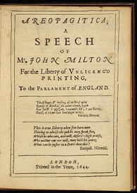 First page of John Milton's 1644 edition of Areopagitica