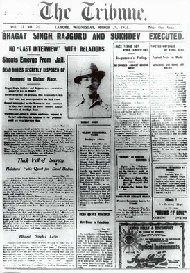 Front page of The Tribune announcing the executions of Bhagat Singh, Rajguru and Sukhdev by the British.