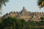 The Buddhist Borobudur temple, an elaborate stupa arranged in a grand mandala