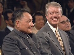 Carter meeting Deng Xiaoping, leader of China from 1978 to 1989