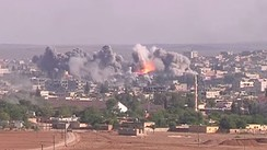 A coalition airstrike on ISIL positions in Kobanî.