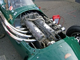 An Alta straight-4 engine, installed into a Connaught Type C Formula One car of 1959.