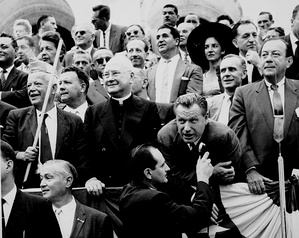 Nelson Rockefeller with labor leader David Dubinsky, Mayor Robert F. Wagner Jr., and Cardinal Spellman at the 1959 Labor Day Parade in New York City