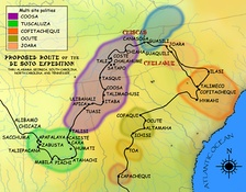 Route of the de Soto expedition through the Coosa chiefdom, based on the Hudson map of 1997
