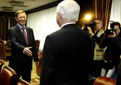 Former KGB officer Sergei Ivanov meets with former CIA director Robert Gates, April 2007