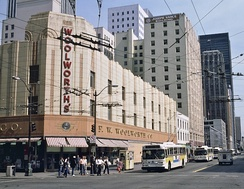 The Woolworth's store in downtown Seattle in the 1980s