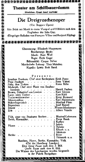 Playbill of the premiere performance at Theater am Schiffbauerdamm Berlin, 31 August 1928. The name of Lotte Lenya, who played Jenny, was omitted by mistake.