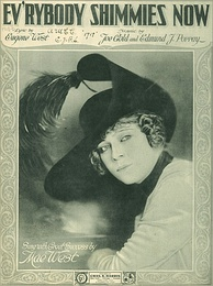 """Ev'rybody Shimmies Now"" sheet music cover with portrait, 1918"