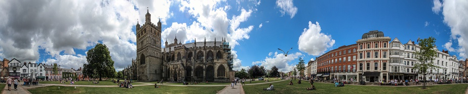 A panorama of Exeter Cathedral and Cathedral Close