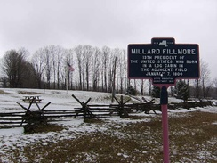 Historical marker at the site of Fillmore's birth