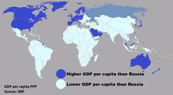 Страны, которые имеют более высокий или низкий ВВП (ППС) на душу населения, чем Россия