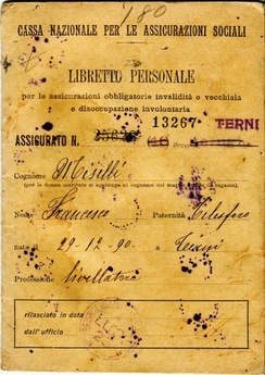 An old social insurance card (dated 1921) belonging to the Istituto Nazionale della Previdenza Sociale, which makes sure that workers are not injured from work, and if they are, that they are insured.