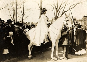 Inez Milholland, on horseback, led the March 3, 1913 Woman Suffrage Procession in Washington, D.C.