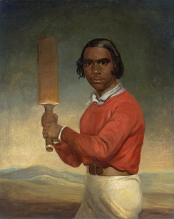 "This portrait of a young Indigenous boy was commissioned by a member of a Christian mission station to show the achievements of the mission at ""civilising"" the Indigenous population.[55]"