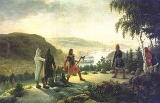 Egill Skallagrímsson engaging in holmgang with Berg-Önundr, painting by Johannes Flintoe