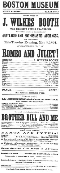 Boston Museum playbill advertising Booth in Romeo and Juliet, May 3, 1864