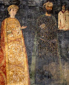 The 13th century lord of Sredets Kaloyan and his wife Desislava, Boyana Church