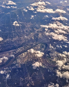 Aerial view of Kansas City where the Kansas River joins the Missouri River