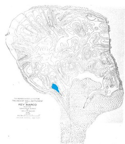 "Map of Key Marco with ""Court of the Pile Dwellers"" marked in blue, from the Pepper-Hearst Expedition report"