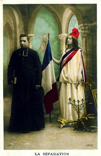 An allegorical photograph depicting the 1905 French Law of Separation of Church and State.
