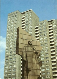 Statue of Lenin erected by the East German Marxist-Leninist government at Leninplatz in East Berlin, East Germany (removed in 1992)