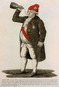 "Tinted etching of Louis XVI, 1792. The caption refers to the date of the Tennis Court Oath and concludes, ""The same Louis XVI who bravely waits until his fellow citizens return to their hearths to plan a secret war and exact his revenge."""