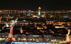 Overview on Lyon during Fête des Lumières